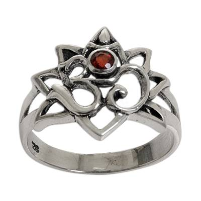Garnet Sterling Silver Om Cocktail Ring from Indonesia