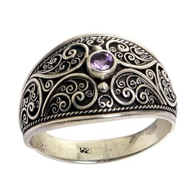 Sterling Silver and Amethyst Band Ring from Indonesia
