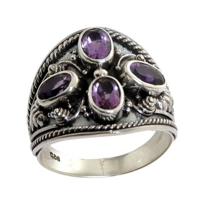 Hand Made Sterling Silver Amethyst Multistone Ring Indonesia