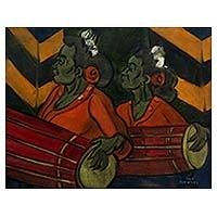 'Gendang Players' - Oil on Canvas Portrait of Javanese Gamelan Drummers