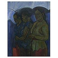 'Market's Beauty' - Oil Portrait of Three Women Walking to the Market