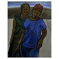 'Back from Market' - Oil Portrait of Two Javanese Women in Late Afternoon