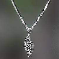 Sterling silver pendant necklace, 'The Quality of Love' - Hand Made Sterling Silver Pendant Necklace from Indonesia