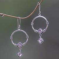 Amethyst dangle earrings, 'Rings of Happiness in Purple' - Sterling Silver Amethyst Dangle Earrings from Indonesia
