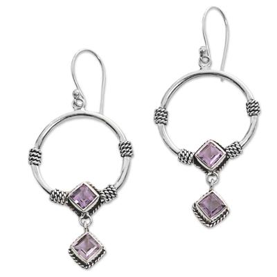 Amethyst dangle earrings, 'Rings of Happiness in Purple' - Sterling Silver Amethyst Dangle Earrings from Indonesia