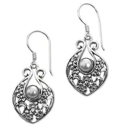 Cultured pearl dangle earrings, 'Sea of the Skies' - Sterling Silver Cultured Pearl Dangle Earrings Indonesia