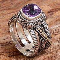 Gold accented amethyst cocktail ring, 'Spectacular Purple' - Gold Accented Sterling Silver and Amethyst Cocktail Ring