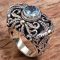 Gold accented blue topaz cocktail ring, 'Whimsical Sea' - Artisan Crafted Gold Accent Blue Topaz Cocktail Ring