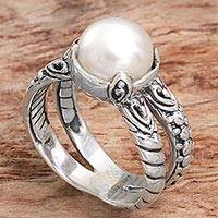 Cultured pearl cocktail ring, 'Romancing the Moon' - Cultured Freshwater Pearl and Sterling Silver Cocktail Ring