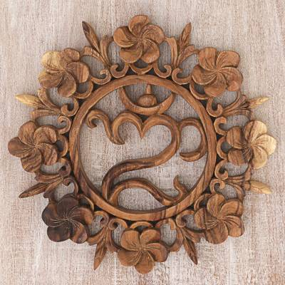 Wood relief panel, 'Blossoming Omkara' - Wood Wall Relief Panel Floral Om from Indonesia