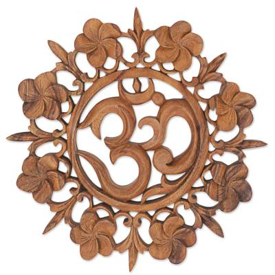 Wood wall relief, 'Om is Life' - Hand Carved Wood Wall Relief Floral Om from Indonesia