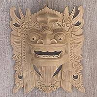 Wood mask, 'Our Lion Guardian' - Handcarved Jempinis Wood Mask Barong Ket Wall Decor