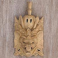 Wood mask, 'The Fortune Giver' - Ganesha Jempinis Wood Hand Carved Wall Mask