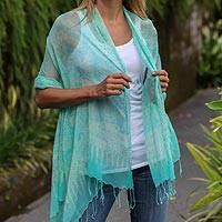 Silk batik shawl, 'Beautiful Ocean' - Sea Animal Batik Silk Shawl in Aqua with Fringe Indonesia