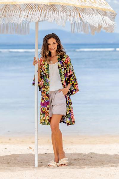 Rayon robe, 'Jungle Groove' - Multicolored Floral Rayon Robe in Rosewood from Indonesia
