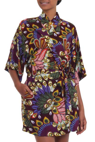 Multicolored Floral Rayon Robe in Rosewood from Indonesia