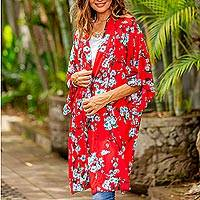 Rayon robe, 'Holy Jasmine' - Floral Rayon Robe in Candy Apple and Ivory from Indonesia
