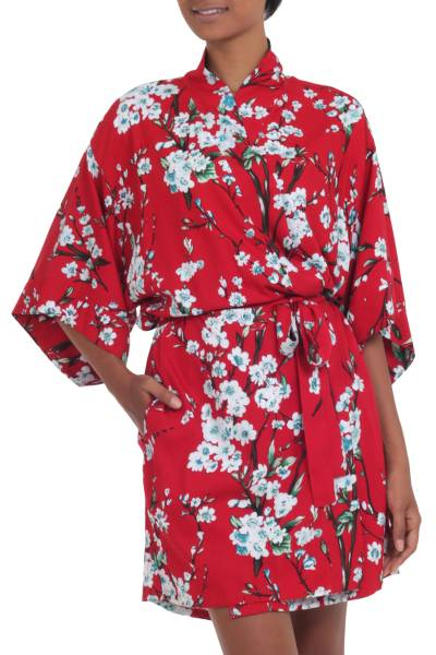 Floral Rayon Robe in Candy Apple and Ivory from Indonesia