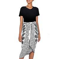 Rayon batik sarong, 'White Sun' - Handmade Batik Indonesian Sarong in Black and White