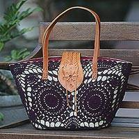 Natural fiber and leather accent shopping bag, 'Twin Boysenberry Mandalas' - Handwoven Pandanus Shoulder Bag with Purple Crochet Mandalas