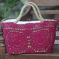 Natural fiber and cotton shoulder bag, 'Twin Magenta Mandalas' - Magenta Crochet on Hand Woven Natural Fiber Shopping Bag