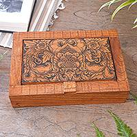Wood jewelry box, 'Bhoma Treasure' - Hand Carved Wood Decorated Jewelry Box from Indonesia