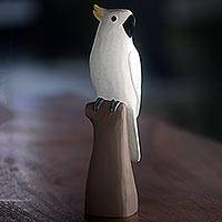 Wood sculpture, 'Double-Crested Cockatoo' - Hand Made Wood Sculpture Cocktaoo from Indonesia
