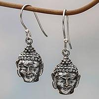 Sterling silver dangle earrings, 'Illumination' - Handmade Sterling Silver Buddha Dangle Earrings