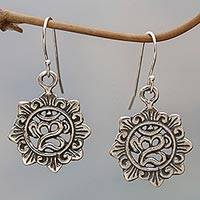 Sterling silver dangle earrings, 'Mystic Mantra' - Sterling Silver Hindu Dangle Earrings from Bali