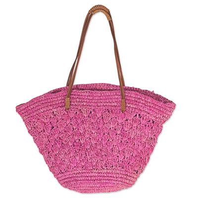 Novica Pineapple leaf tote handbag, Magenta Weave