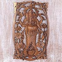 Wood relief panel, 'Ganesha Standing' - Suar Wood Hand Carved Relief Wall Panel of Ganesha