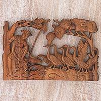 Wood wall relief, 'Duck Farmer' - Hand Made Wood Wall Relief Ducks from Indonesia
