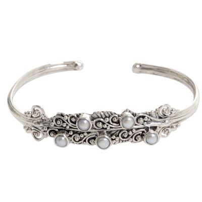 Cultured pearl cuff bracelet, 'Balls of Moonlight' - Cultured Pearl Sterling Silver Cuff Bracelet from Indonesia