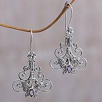 Amethyst dangle earrings, 'Resting Butterfly' - Amethyst Sterling Silver Butterfly Dangle Earrings Indonesia