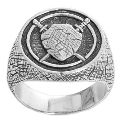 Men's sterling silver signet ring, 'Indra Shield' - Sterling Silver Men's Shield Signet Ring from Indonesia