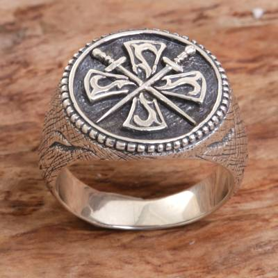 Mens sterling silver signet ring, Indra Sword