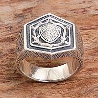 Men's sterling silver signet ring, 'Protector Shield' - Men's Sterling Silver Signet Ring from Indonesia