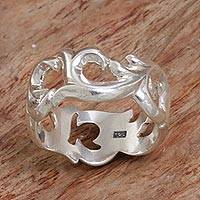 Sterling silver band ring, 'Cresting Waves'