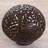 Coconut shell sculpture, 'Bamboo Shelter' - Hand Made Coconut Shell Bamboo Sculpture from Indonesia