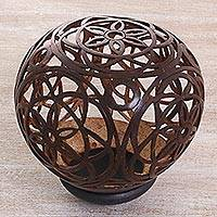 Coconut shell sculpture, 'Supernova Flowers' - Coconut Shell Openwork Floral Sculpture from Indonesia