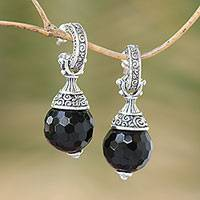 Onyx half-hoop earrings, 'Black Swirls' - Sterling Silver Black Onyx Half-Hoop Earrings from Indonesia