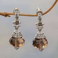 Smoky quartz dangle earrings, 'Smoky Swirls'