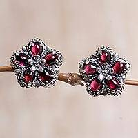 Garnet button earrings, 'Five Red Petals' - Sterling Silver Garnet Button Earrings from Indonesia