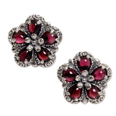 Garnet button earrings, 'Five Red Petals' - Sterling Silver Garnet Button Earrings from Indonesia