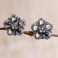 Blue topaz button earrings, 'Five-Petaled Flower' - Floral Blue Topaz Button Earrings from Bali