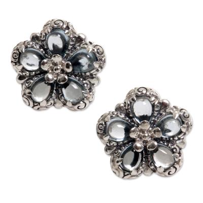 Blue topaz button earrings, 'Five-Petaled Flower' - Floral Blue Topaz Button Earrings from Bali