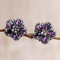 Amethyst button earrings, 'Five Purple Petals' - Sterling Silver Amethyst Floral Button Earrings