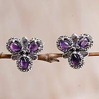Amethyst button earrings, 'Three Purple Petals' - Sterling Silver Amethyst Button Earrings from Indonesia