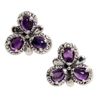 Amethyst button earrings, 'Three Purple Petals' - Sterling Silver Amethyst Button Earrings from Indonesia