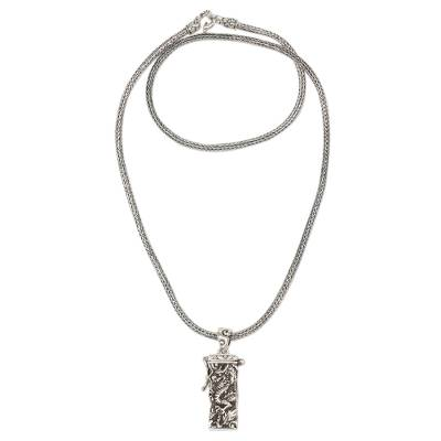 Sterling Silver Prayer Box Necklace Dragon from Indonesia